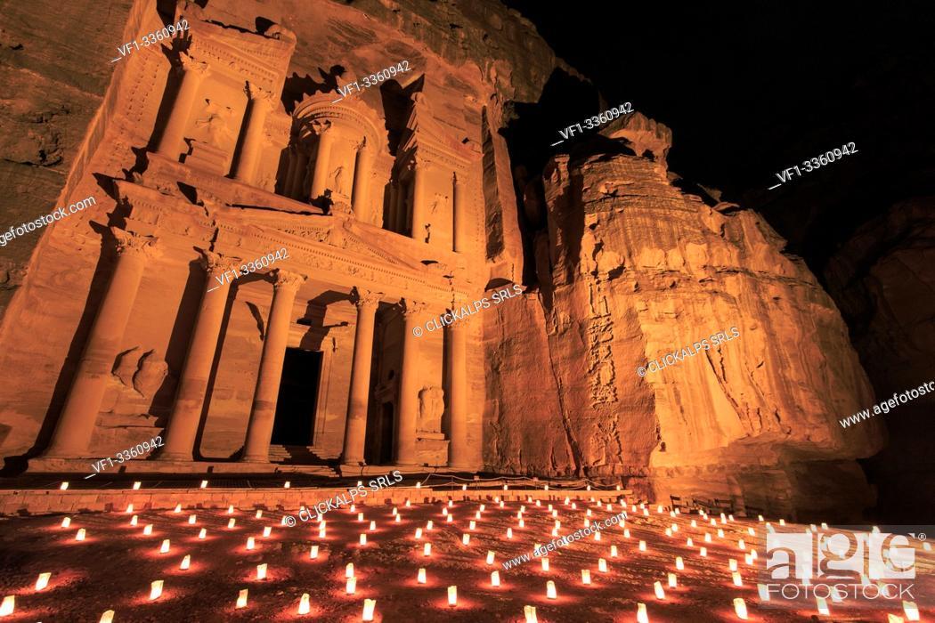 Stock Photo: Petra by night, Jordan.