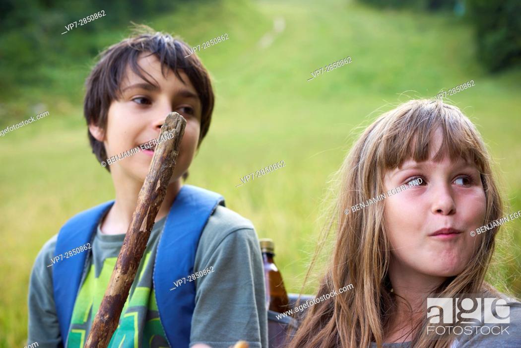 Stock Photo: hiking adventure of siblings.