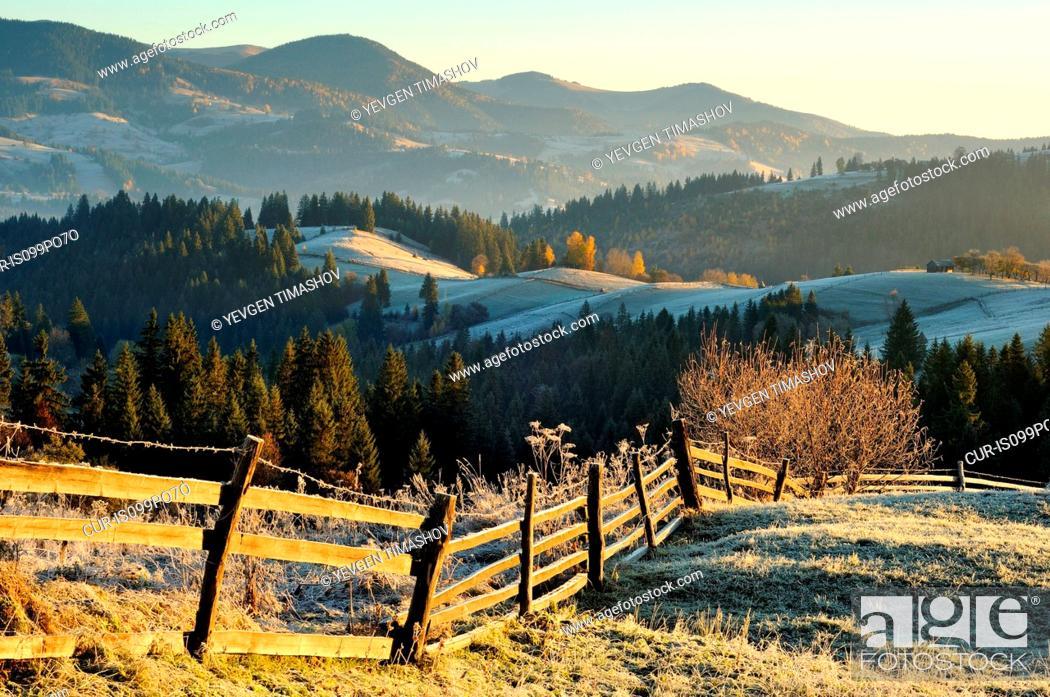 Stock Photo: Krasnik village area, Carpathian Mountains, Ivano-Frankivsk region, Ukraine.