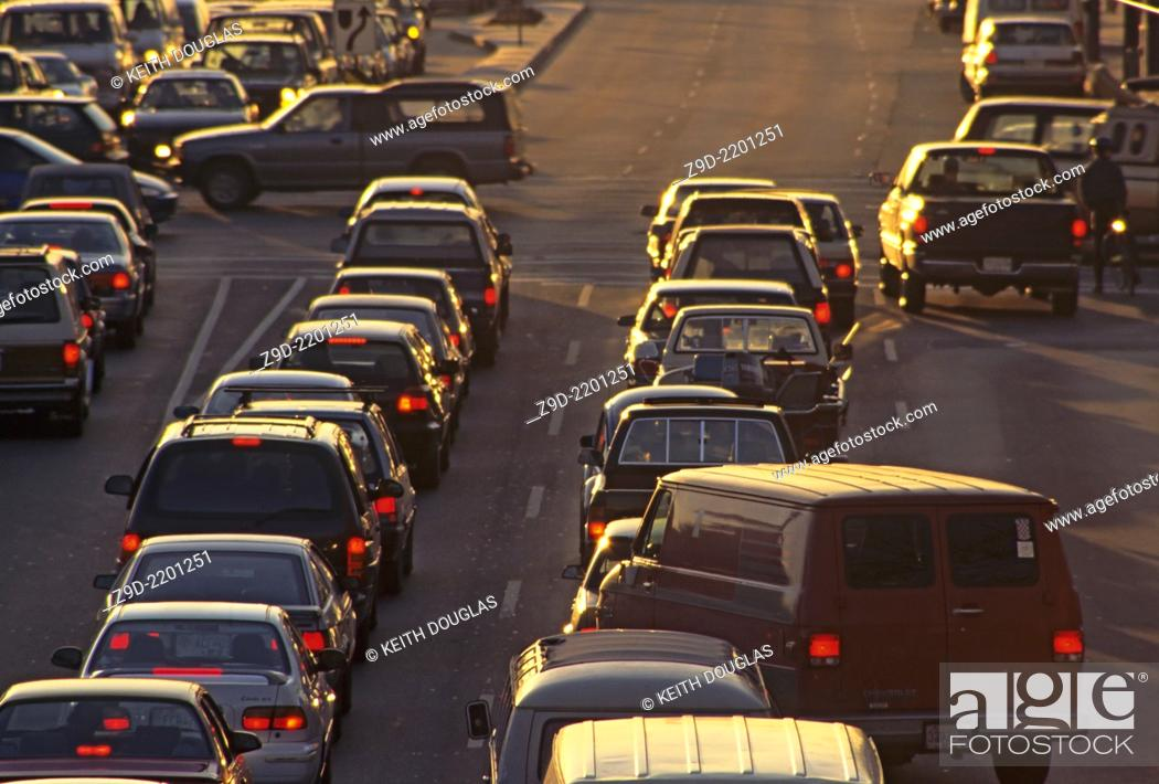 Stock Photo: Traffic on Kingsway and Boundary, Vancouver, British Columbia.