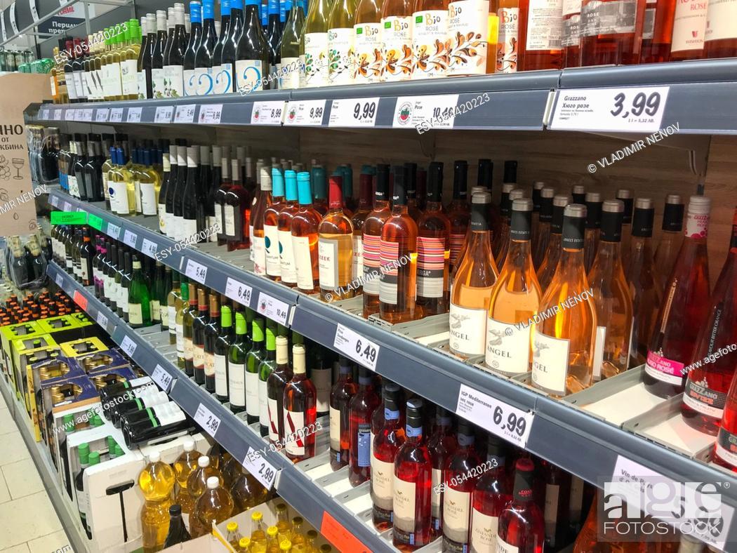 Stock Photo: Pomorie, Bulgaria - March 04, 2020: Wine bottles in wine shop.