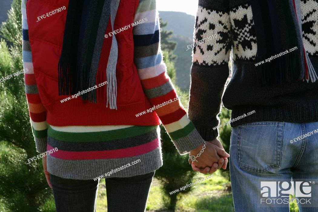 Stock Photo: Rear view of couple holding hands outdoors.