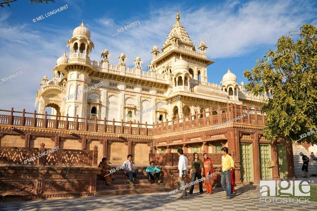 Stock Photo: Tourists visiting Jaswant Thada Memorial, Jodhpur, Rajasthan, India.