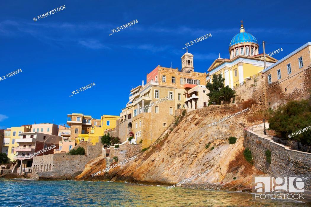Stock Photo: The Neo Classic Greek Orthodox Church of Saint Nicholas, Ermoupolis, Syros, Greek Cyclades Islands.