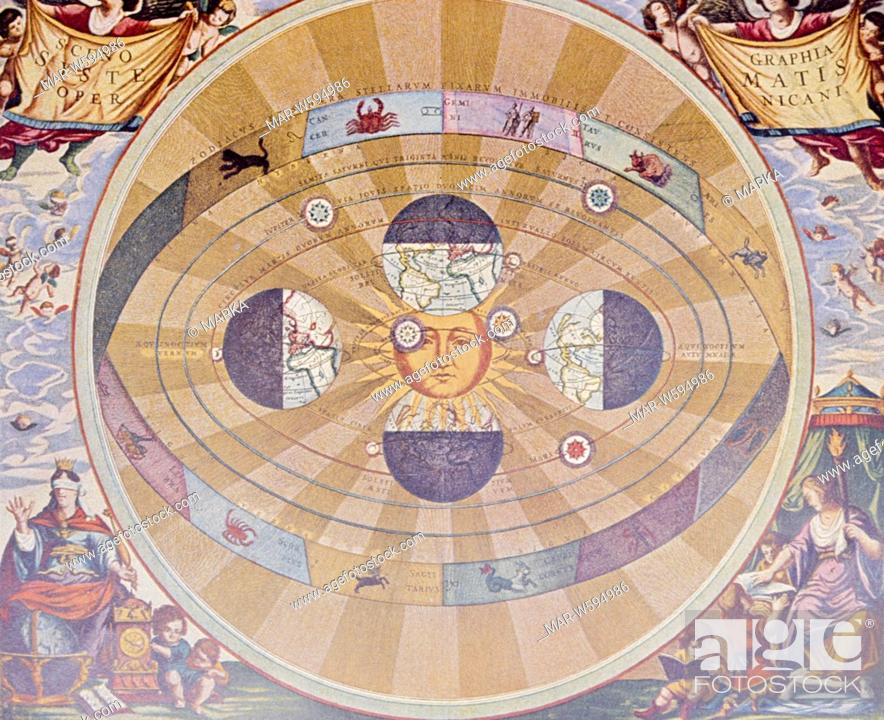 Copernican system, the sun at the center of the universe, Stock