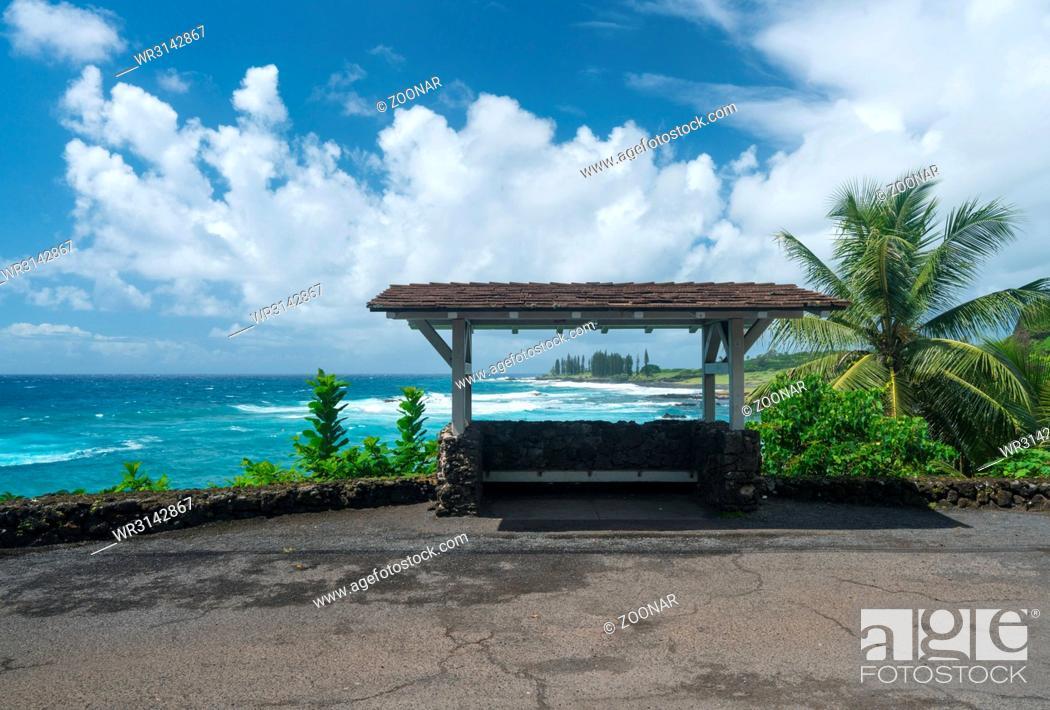 Stock Photo: Bus stop by Hamoa Beach near Hana on Hawaiian island of Maui.