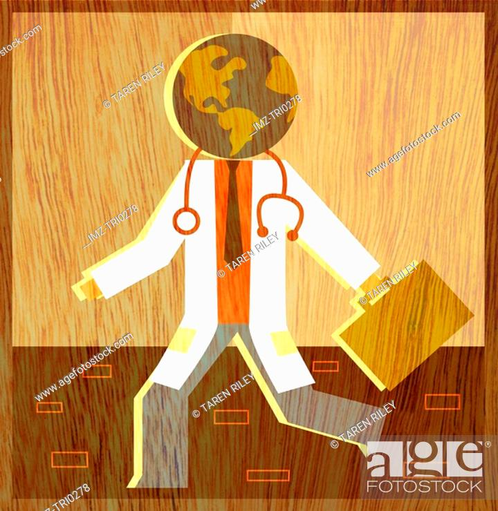 Stock Photo: A physician with a globe for his head.