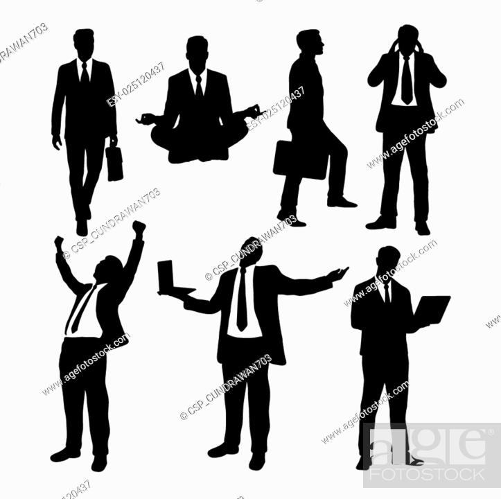 Stock Vector: Businessman activity silhouettes.