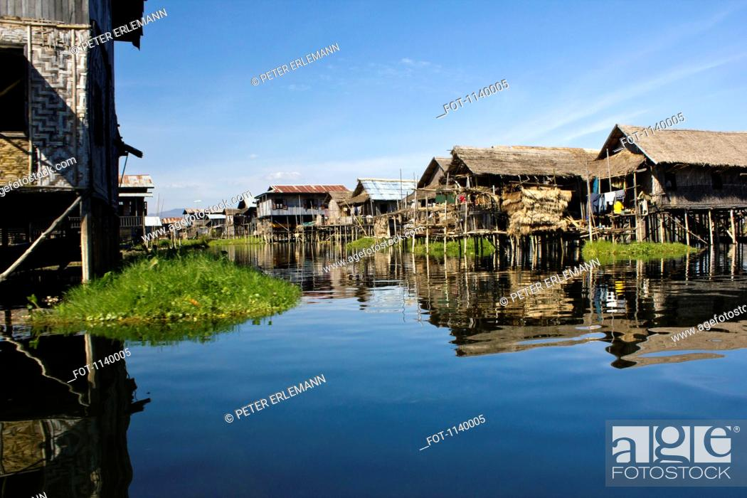 Stock Photo: A village of stilt houses, Inle Lake, Burma.