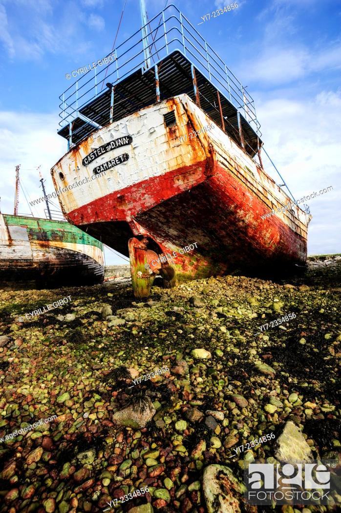 Stock Photo: Shipwreck at boat cemetery, Camaret sur Mer, Crozon Peninsula, Finistere, Brittany, France.