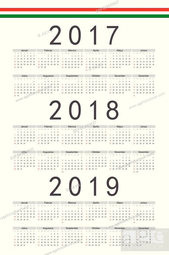 Stock Vector: Set of rectangle Hungarian 2017, 2018, 2019 year vector calendars. Week starts from Sunday.