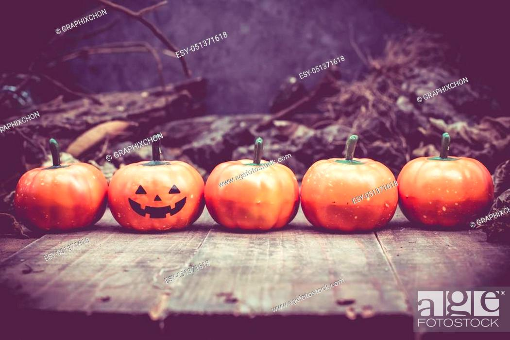 Stock Photo: Happy Halloween with pumpkin, trick or treat in autumn season. Scary and boo symbol at night.
