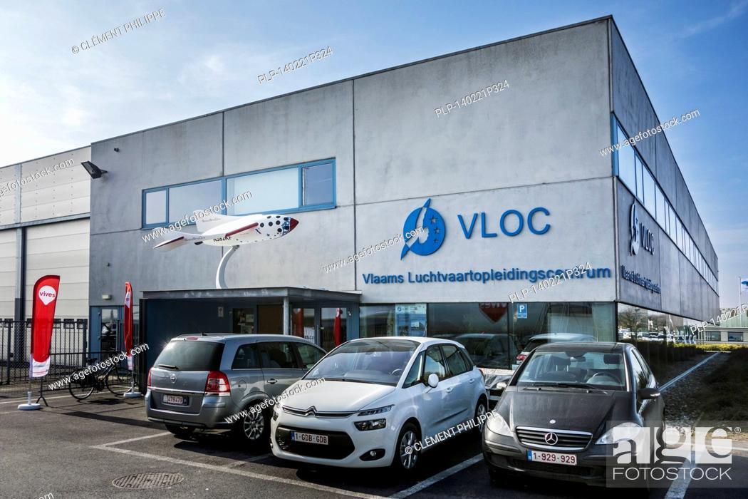 Stock Photo: Vlaams Luchtvaartopleidingscentrum / VLOC / Flemish aviation training center in Ostend, Belgium.