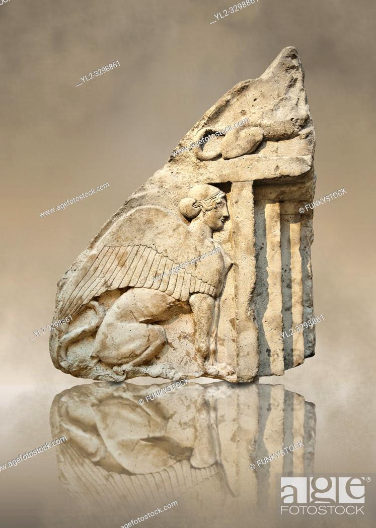 Stock Photo: Guardian Sphinxes, part lion & part sphinx from the gable end of a vaulted Lycian sarcophagus from the Heros of the Acropolis (Building H Xanthos).