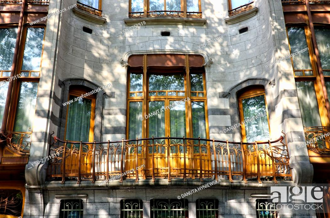Stock Photo: part of front facade - Art Nouveau Hotel Solvay - house designed by Victor Horta 1898-1900 for Armand Solvay, together with three other town houses of Victor.