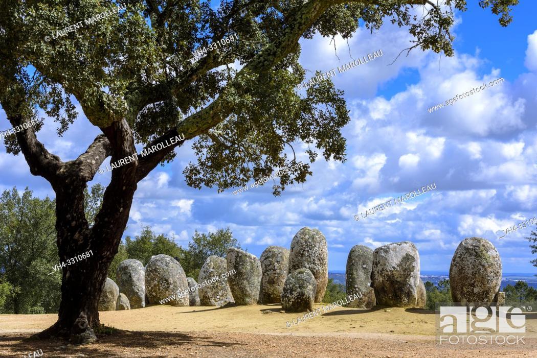 Stock Photo: Almendres Cromlech (Cromeleque dos Almendres), Nossa Senhora de Guadalupe, Evora Municipality, Alentejo Region, Portugal, Europe.