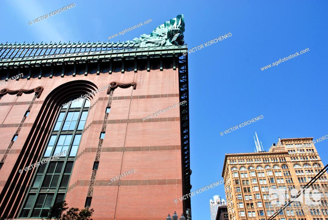 Stock Photo: Facade of Chicago Public Library.