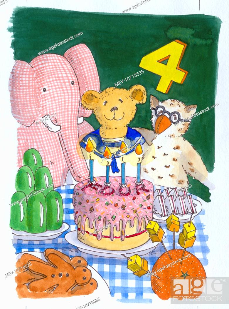 Teddy Bear In Sailor Suit With Owl And Pink Elephant Table