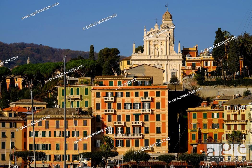 Stock Photo: Buildings on the sea front and San Giacomo church in the background, Santa Margherita Ligure, Genova, Liguria, Italy, Europe.
