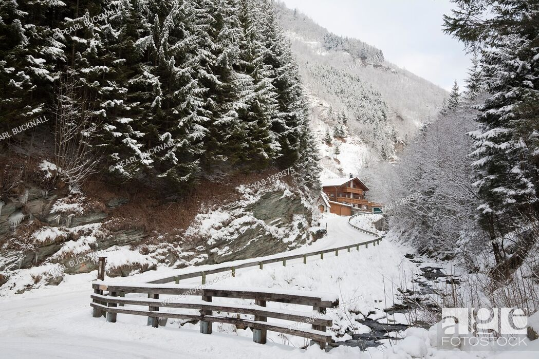 Stock Photo: Rauris Rauriser Sonnen Valley Austria Europe  View along mountain road to Gaisbachtal in alpine valley lined with fir trees following heavy snowfall in winter.