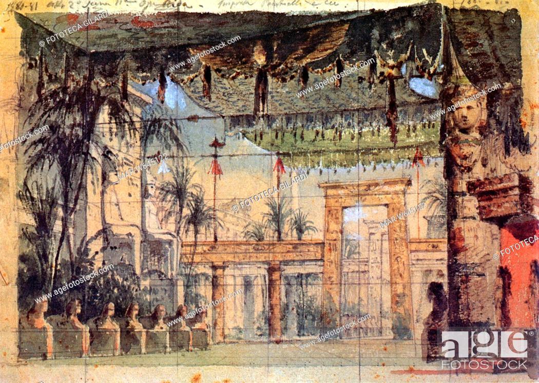 Aida 1871 Bozzetto Scenografico Per La Celebre Opera Di Giuseppe Verdi 1813 1901 Realizzato Per Stock Photo Picture And Rights Managed Image Pic Mar W645122 Agefotostock