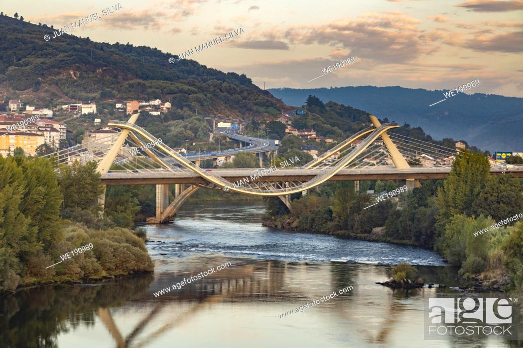 Stock Photo: Millennium Bridge over the Miño River at sunrise, Ourense, Galicia, Spain.