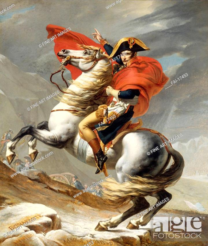 Stock Photo: Bonaparte Crossing the Grand Saint-Bernard Pass, 20 May 1800. David, Jacques Louis (1748-1825). Oil on canvas. Classicism. 1800.