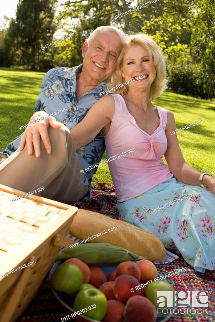 Stock Photo: A couple having a picnic.