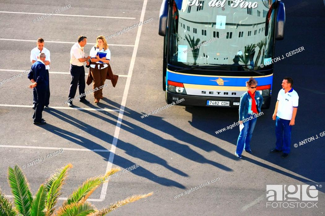 Stock Photo: Guide before touring buses.