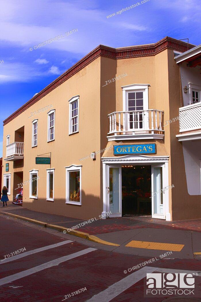 Stock Photo: Ortega's on the Plaza fine jewelry store in downtown Santa Fe, New Mexico USA.