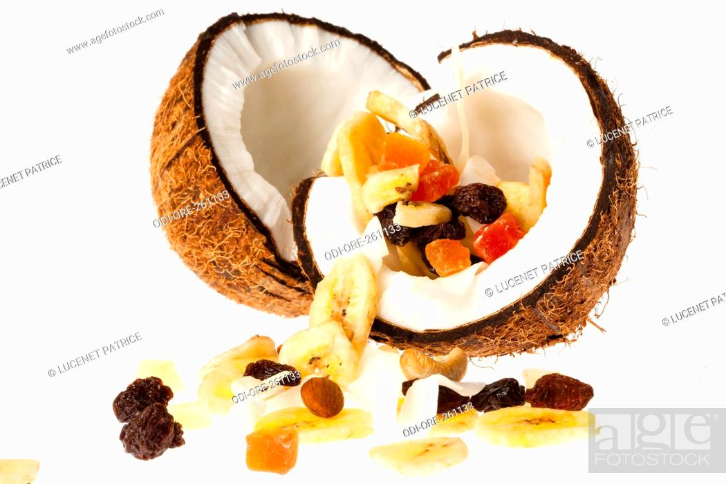 Stock Photo: Coconut dry fruits.
