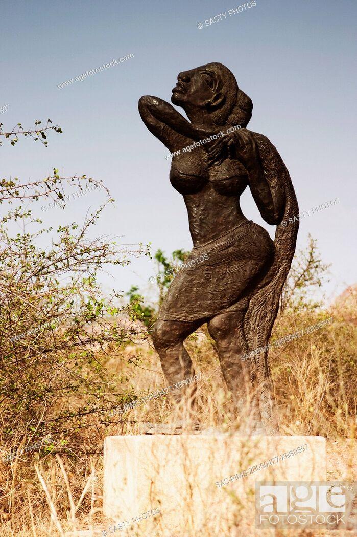 Stock Photo: Statue in a garden, Garden of Five Senses, Saidul Ajaib, New Delhi, India.