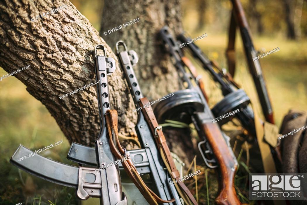 Stock Photo: Soviet Russian Military Ammunition Weapon Of World War II. PPS-43 And PPSh-41 Submachine Gun Leaning Against Trunk Of Tree. Weapon Of Red Army.