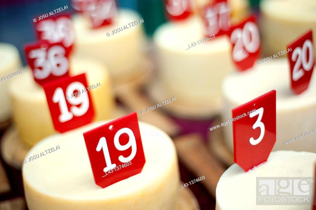 Stock Photo: cheese contest in Ordizia extraordinary market, guipuzcoa,euskadi.