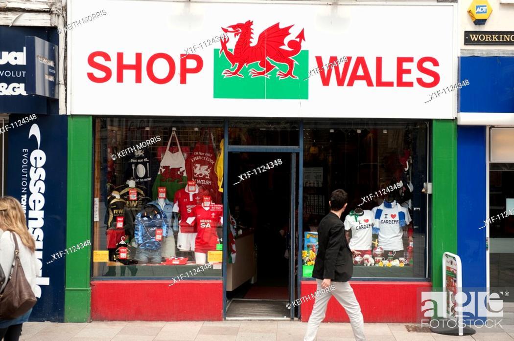 Stock Photo: Shop wales souvenier store, Cardiff city, Wales UK.