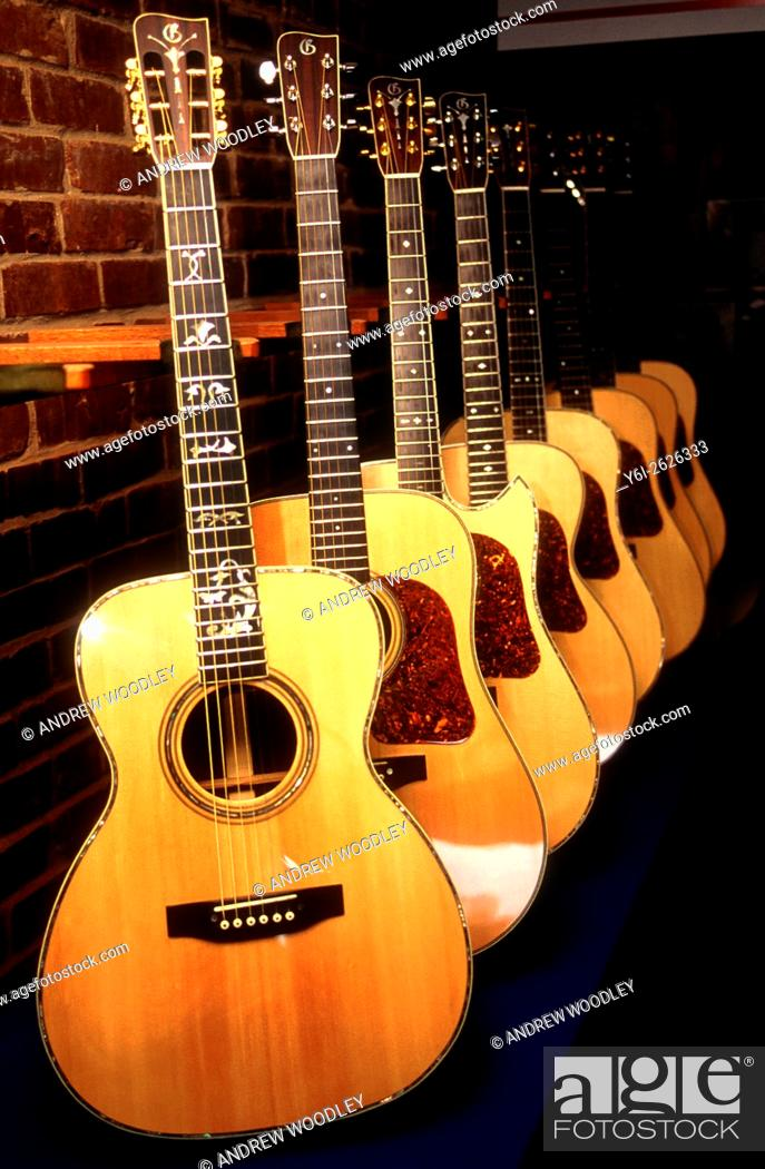 Stock Photo: Gallagher factory acoustic guitar display Wartrace Tennessee USA.