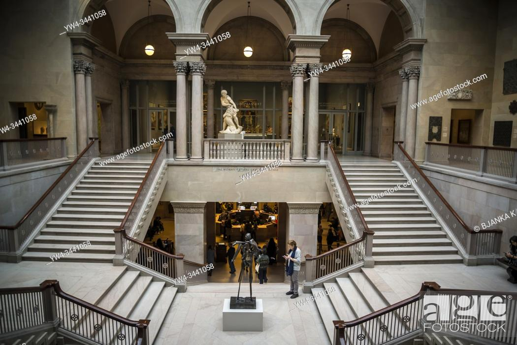 Stock Photo: Grand staircase at The Art Institute of Chicago, Chicago, Illinois, USA.