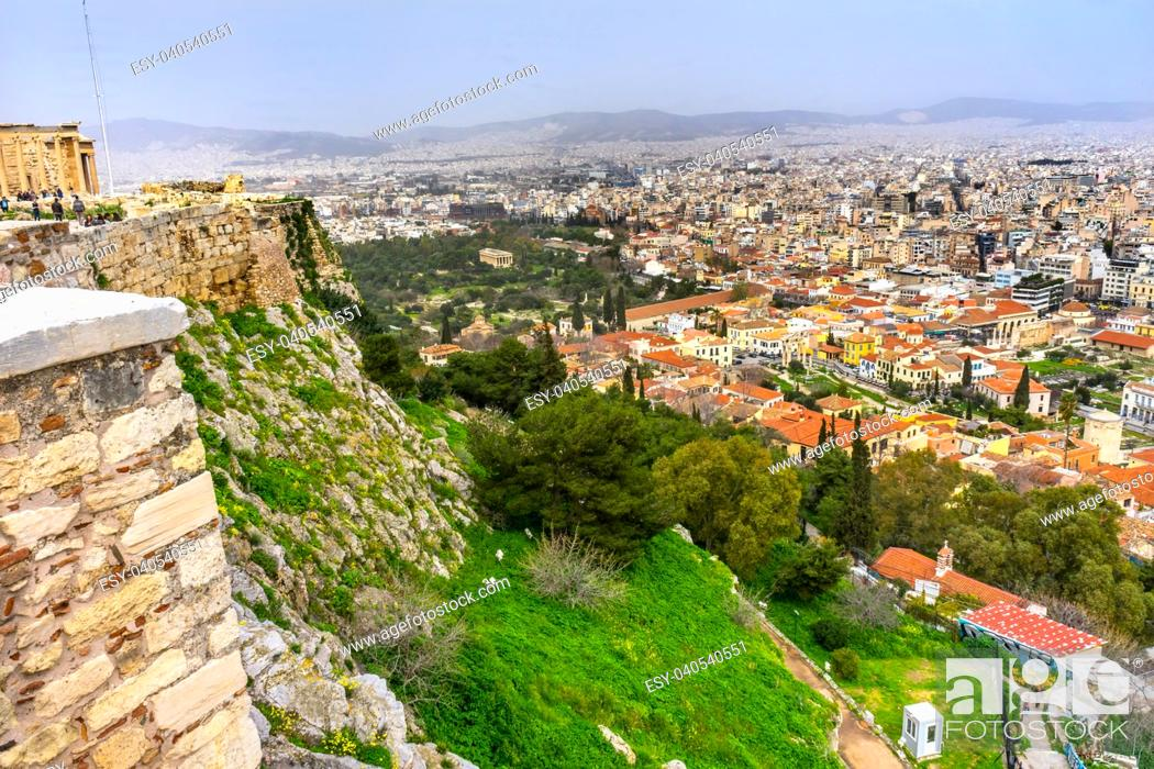 Stock Photo: Ancient Agora Greek Marketplace From Acropolis Athens Greece. Temple of Hephaestus and Long Stoia of Attalus.