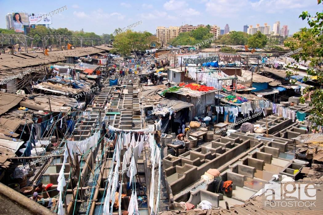 Stock Photo: 'Dhobi Ghat' in Bombay, India, is an open-air laundromat that caters to hospitals and hotels.