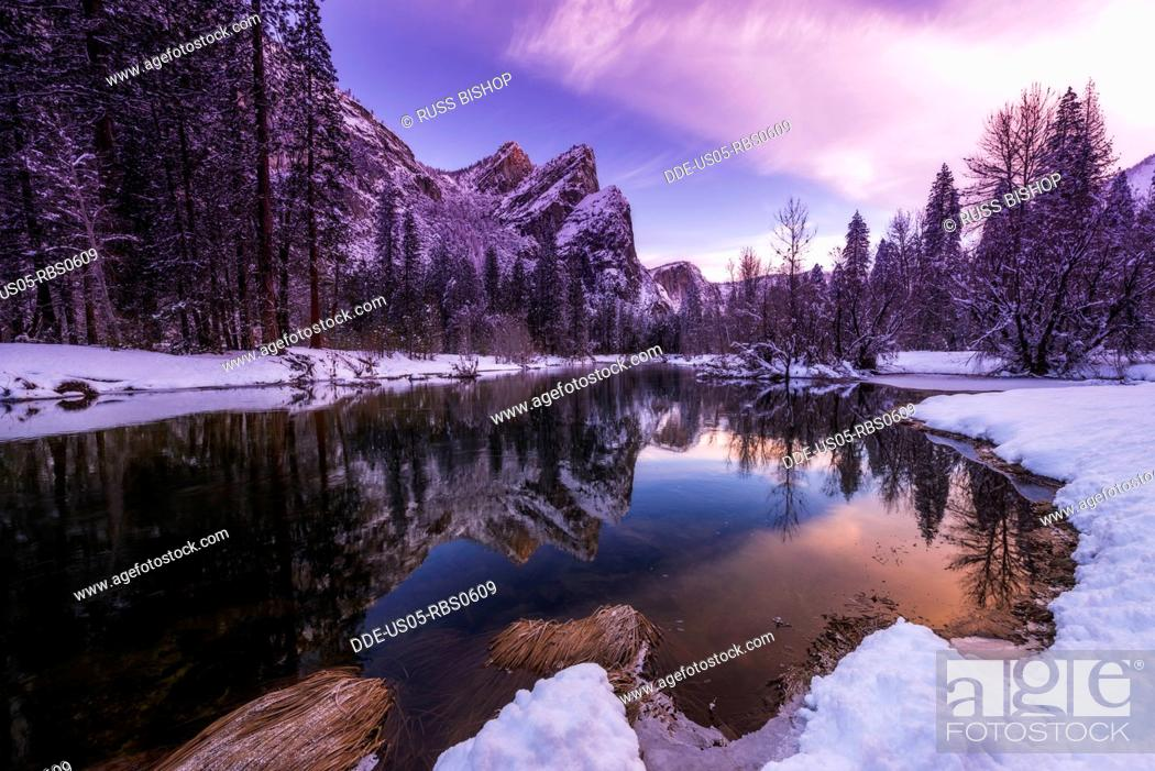 Stock Photo: The Three Brothers above the Merced River in winter, Yosemite National Park, California, USA.