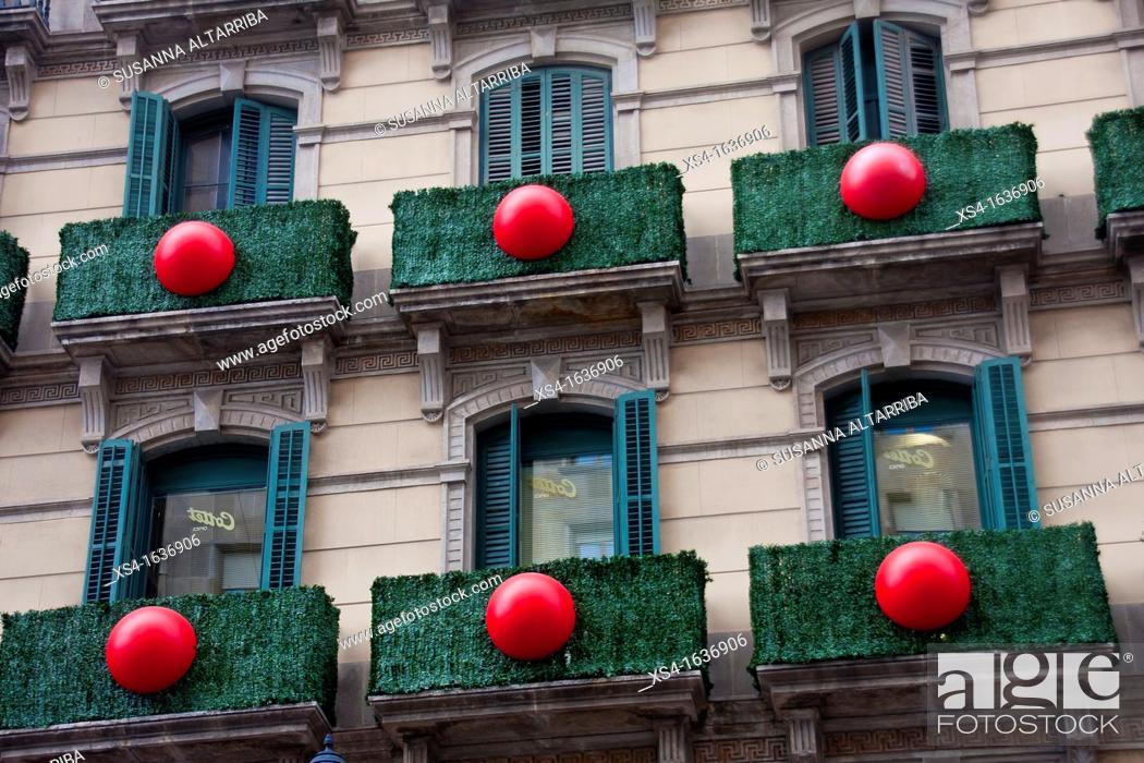 Stock Photo: Balconies decorated in Portal del Angel, Barcelona, Spain, Europe.