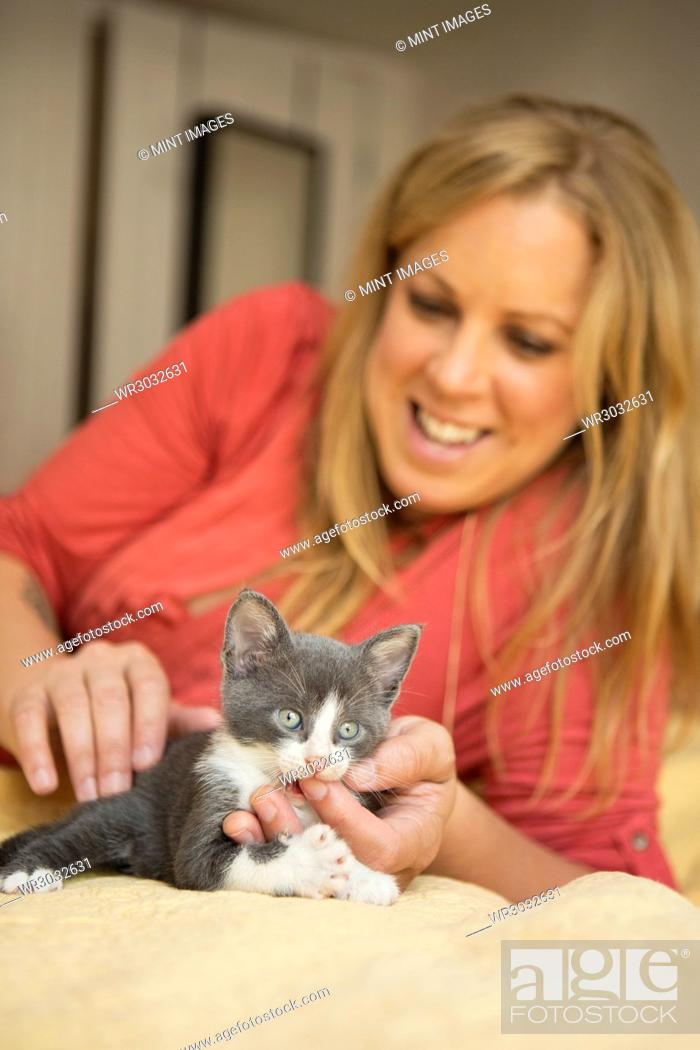 Stock Photo: A woman with a small grey and white kitten.