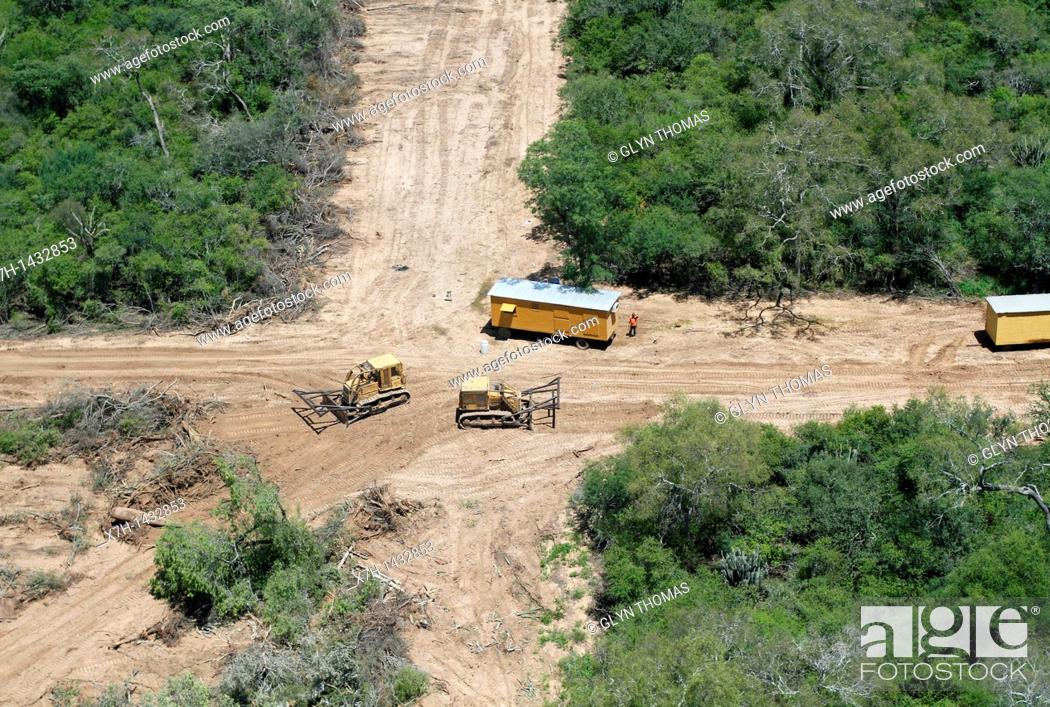 Stock Photo: Deforestation in the Gran Chaco near Mariscal Estigarribia, Paraguay.