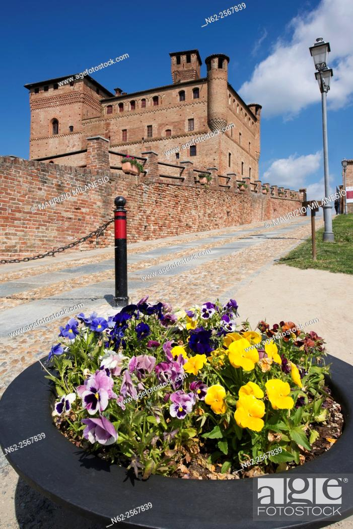 Stock Photo: Spring view of the Castle of Grinzane Cavour Unesco heritage in the territory of the Langhe Piedmont Italy.