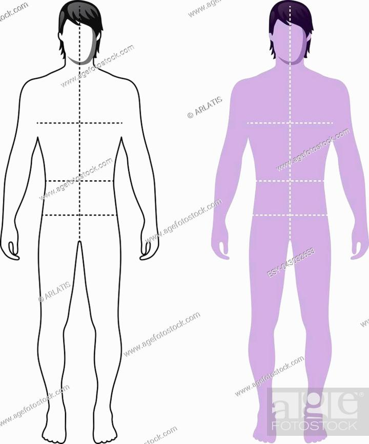Stock Vector: Fashion man full length outlined template figure silhouette with marked body's sizes lines (front view), vector illustration isolated on white background.