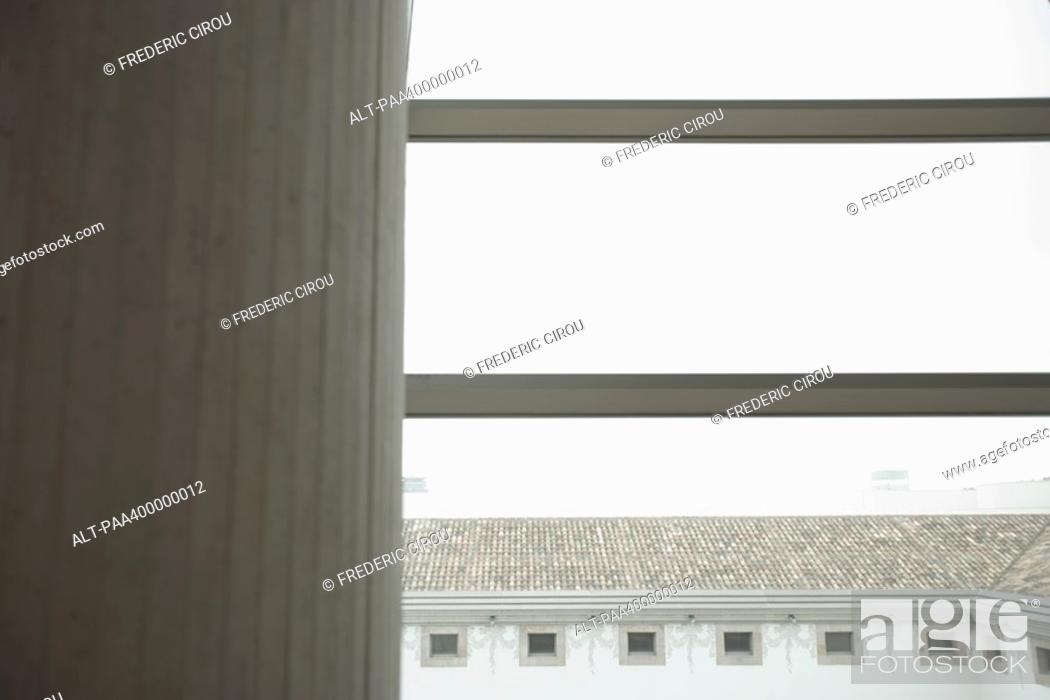 Stock Photo: Architectural view of column and courtyard.