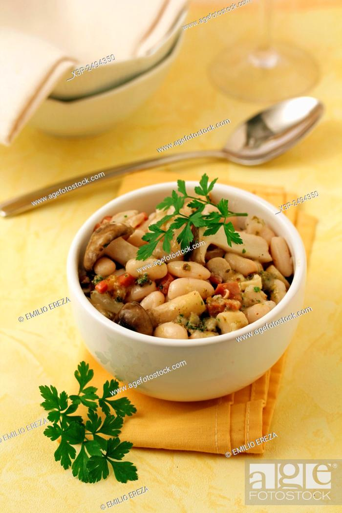 Stock Photo: White beans with wild mushrooms.