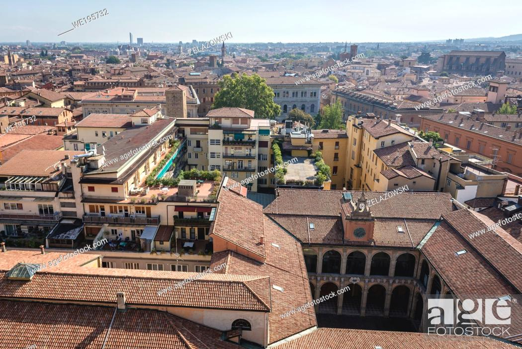 Stock Photo: Bologna, capital and largest city of Emilia Romagna region in Italy - view from Basilica of San Petronio with Archiginnasio of Bologna building.