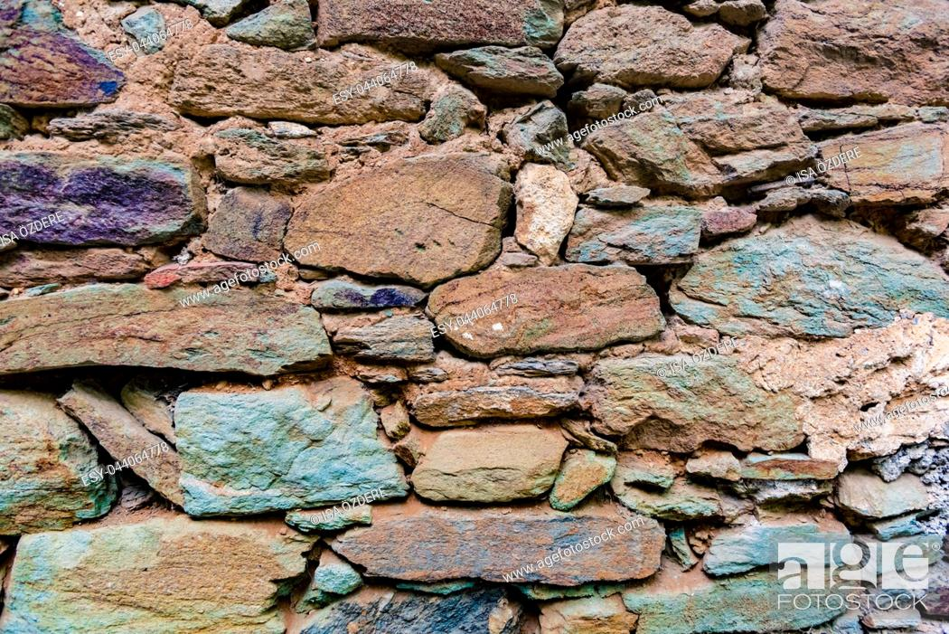 Stock Photo: View of old Rustic big rocks wall for background. Copy space for editing.