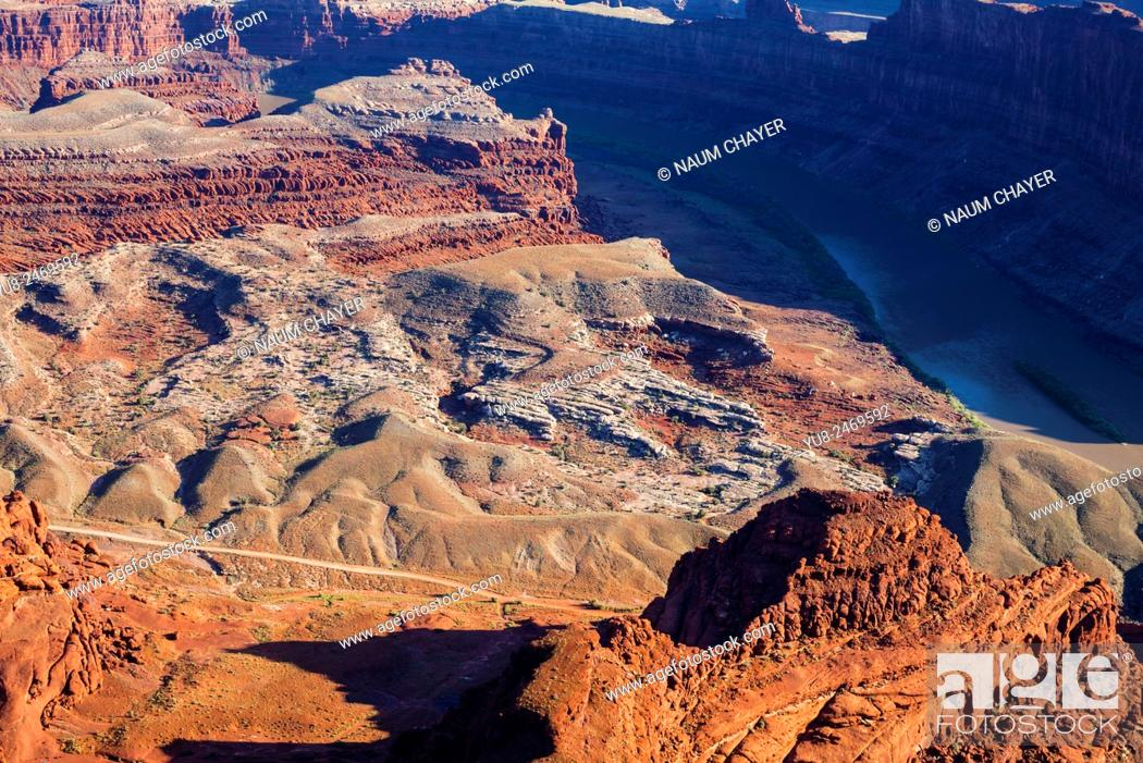 Stock Photo: Panorama of the Colorado River and Canyonlands National Park from Dead Horse Point State Park, Utah, USA.